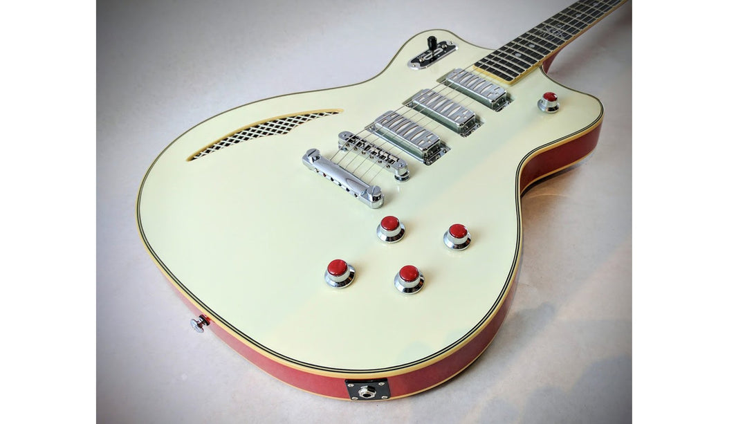 Eastwood Guitars Bill Nelson Astroluxe Cadet Vintage Cream and Fiesta Red Closeup