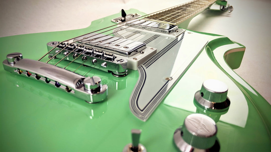 Eastwood Guitars Airline Map Colin Newman Signature Seafoam Green Closeup