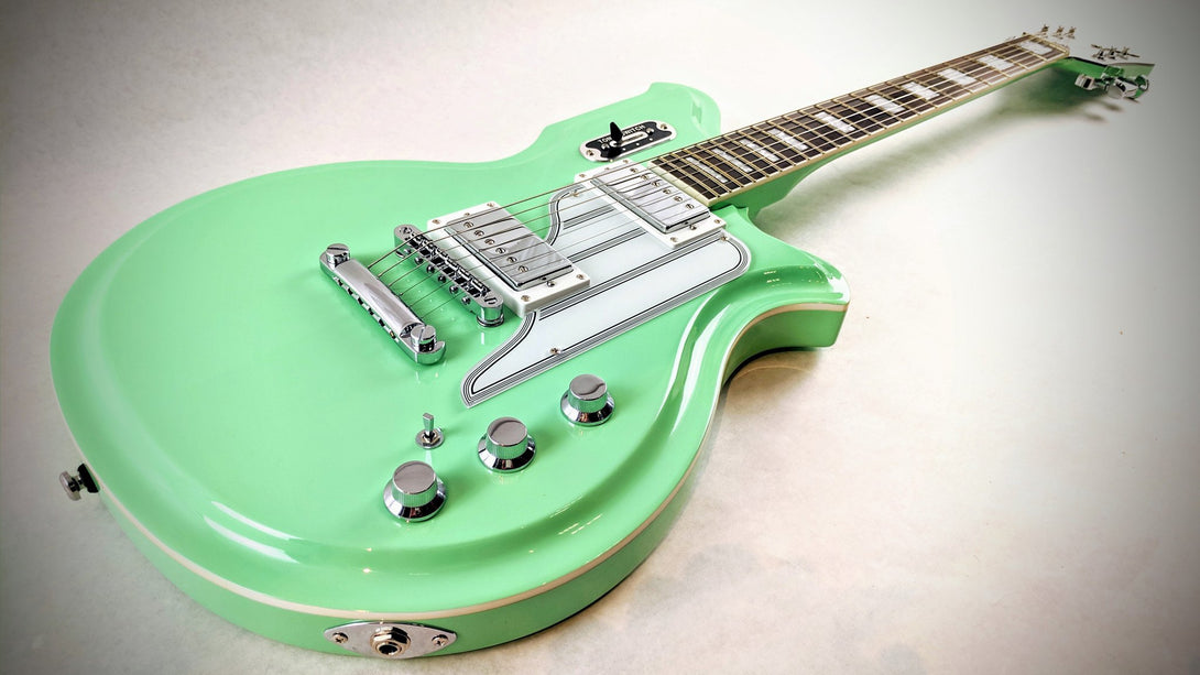 Eastwood Guitars Airline Map Colin Newman Signature Seafoam Green Player POV