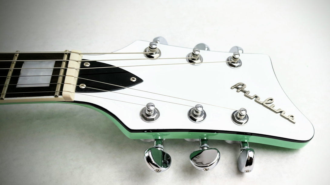 Eastwood Guitars Airline Map Colin Newman Signature Seafoam Green Headstock