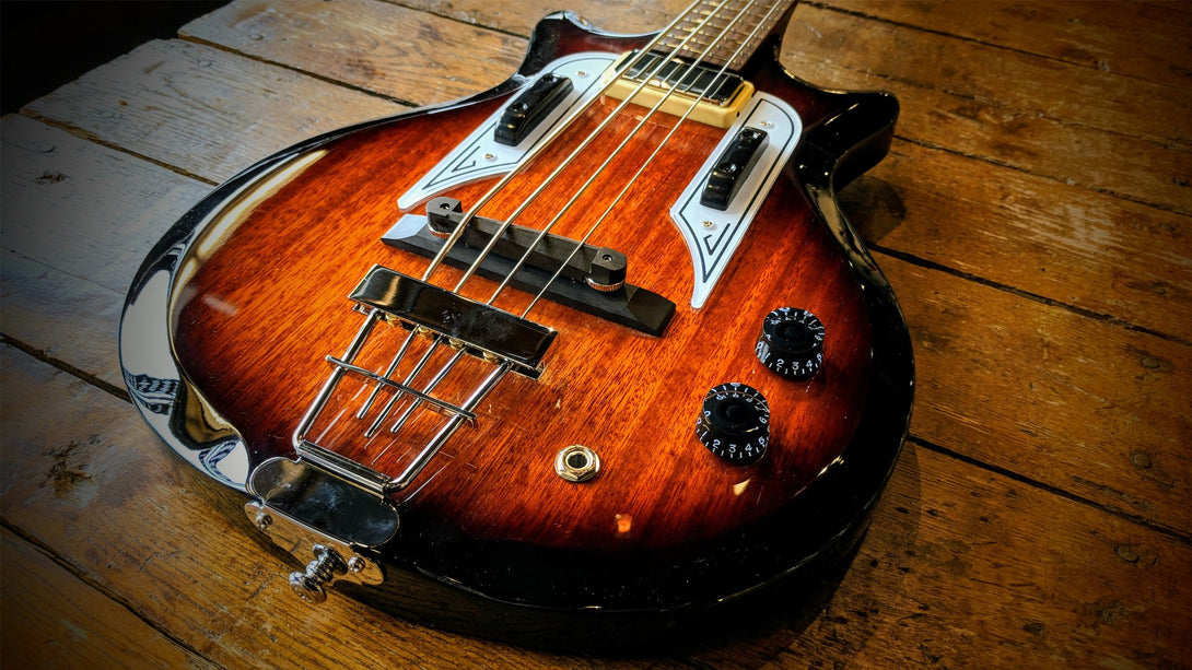 Eastwood Guitars Airline Pocket Bass Sunburst Player POV