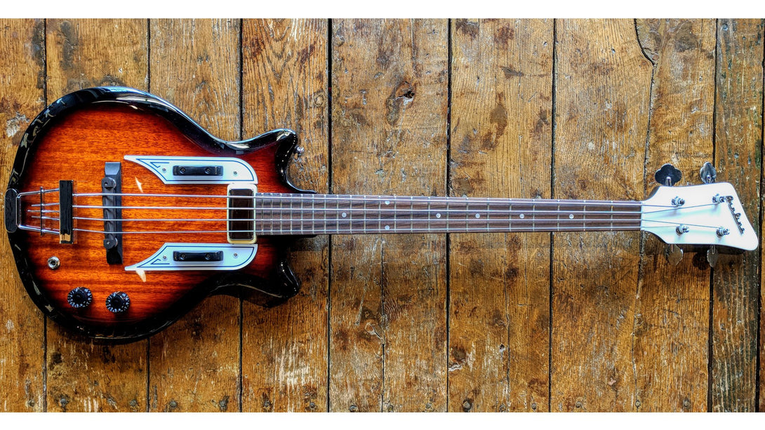 Eastwood Guitars Airline Pocket Bass Sunburst Angled