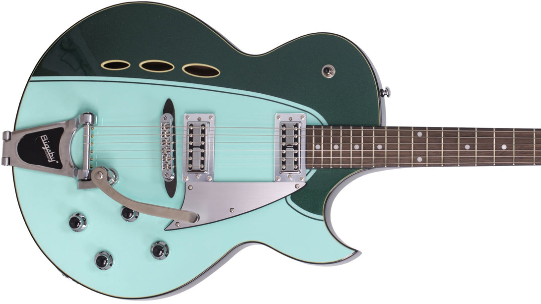 Eastwood Guitars Backlund Rockerbox II DLX Cadillac Green Closeup