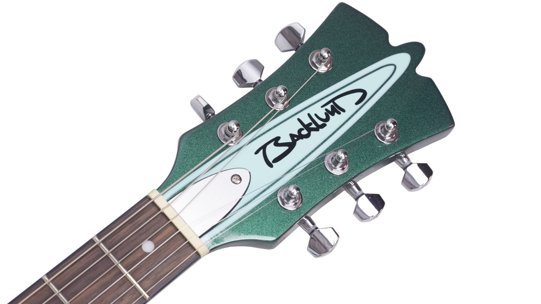 Eastwood Guitars Backlund Rockerbox II DLX Cadillac Green Headstock