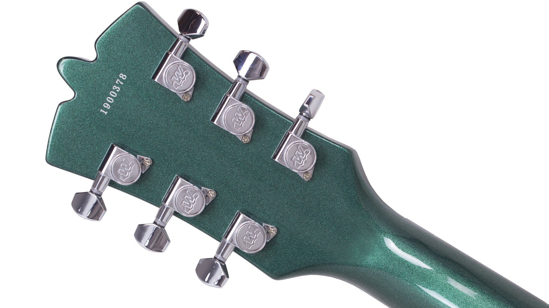 Eastwood Guitars Backlund Rockerbox II DLX Cadillac Green Head Back