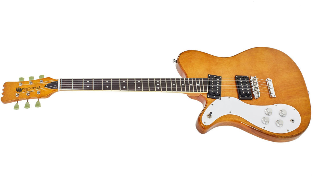Eastwood Guitars Sidejack 300 Natural LH Angled