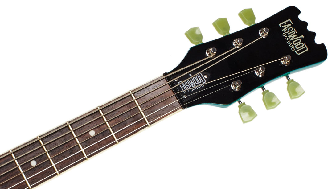 Eastwood Guitars Sidejack Baritone Metallic Blue Headstock