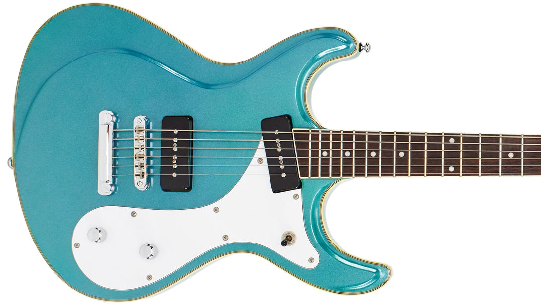 Eastwood Guitars Sidejack Baritone Metallic Blue Closeup