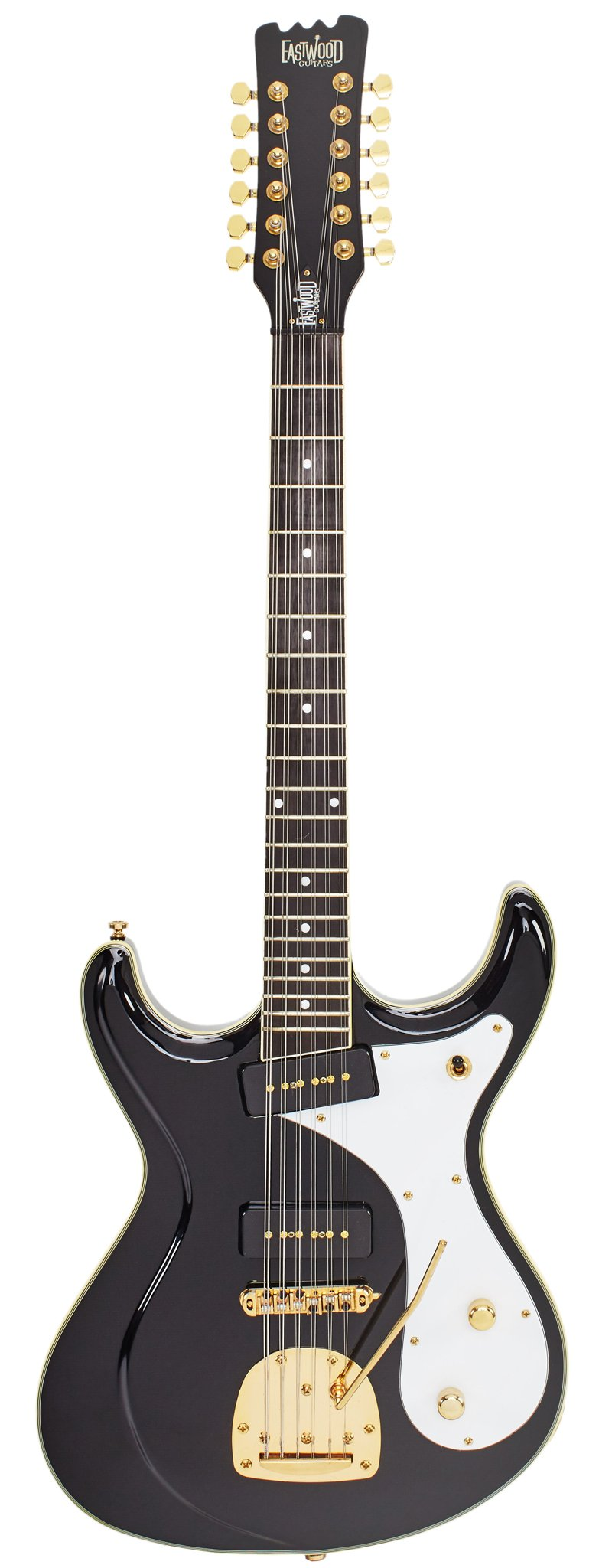 Eastwood Guitars Sidejack 12 DLX Black and Gold Full Front