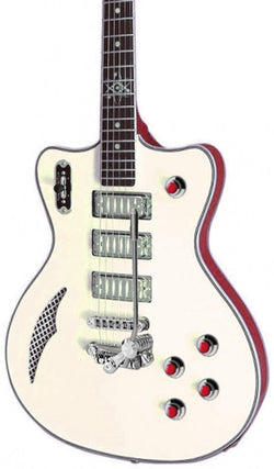 Eastwood Guitars Bill Nelson Astroluxe Cadet DLX Vintage Cream and Fiesta Red Featured