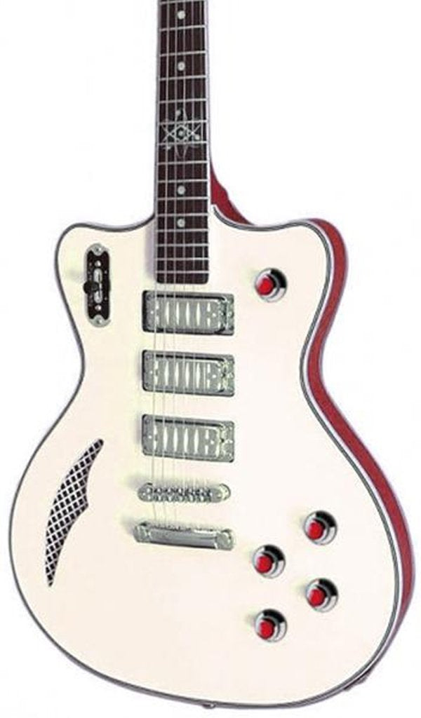 Eastwood Guitars Bill Nelson Astroluxe Cadet Vintage Cream and Fiesta Red Featured