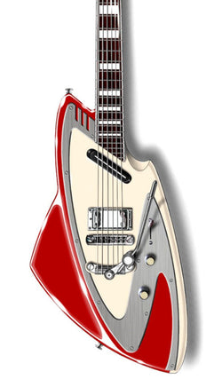 Eastwood Guitars Backlund Model 100 DLX Metallic Red Featured