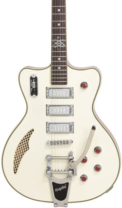 Eastwood Guitars Bill nelson Astroluxe Cadet DLX B Vintage Cream and Fiesta Red Featured