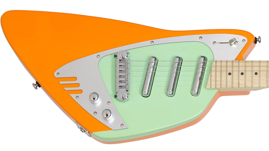 Eastwood Guitars Backlund Katalina Orange and Mint Closeup