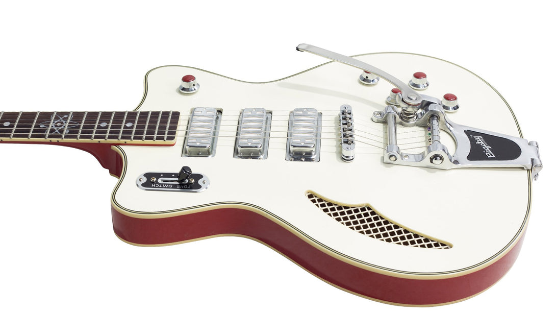 Eastwood Guitars Bill nelson Astroluxe Cadet DLX B Vintage Cream and Fiesta Red Player POV