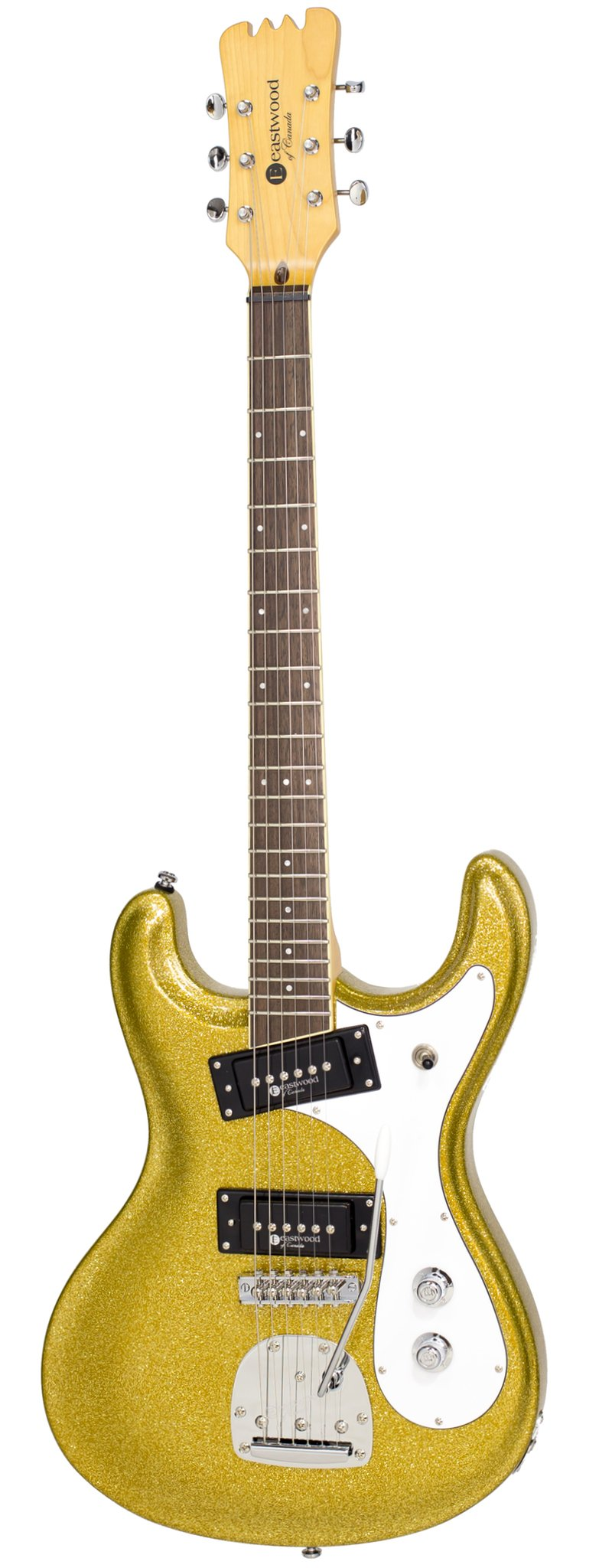 Eastwood Guitars Sidejack PRO DLX Gold Metal Flake Full Front