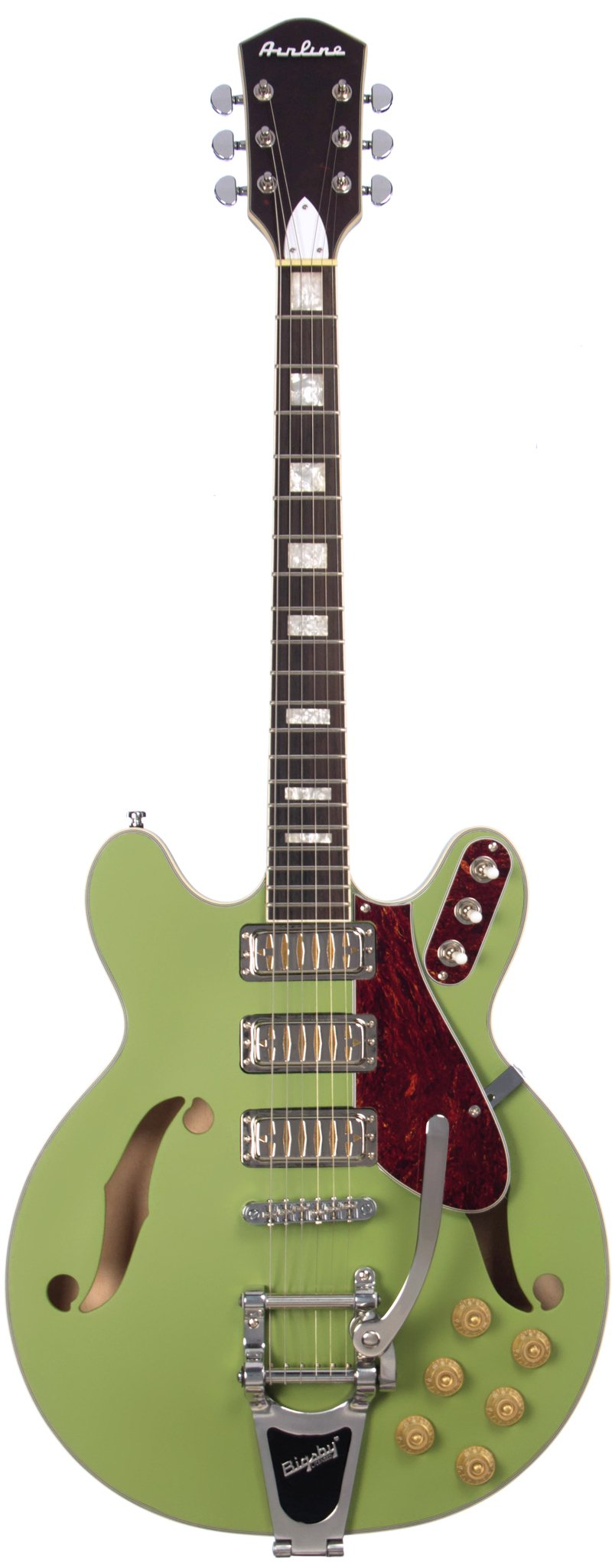 Eastwood Guitars Airline H78 Satin Mat Green Full Front