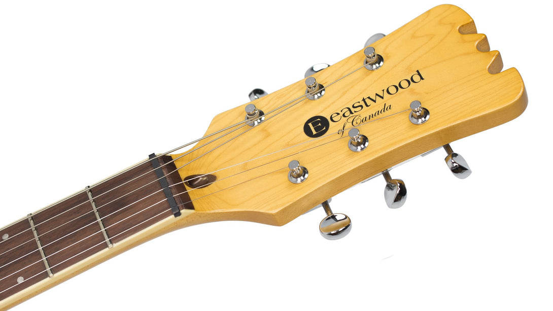 Eastwood Guitars Sidejack PRO DLX Sunburst Headstock