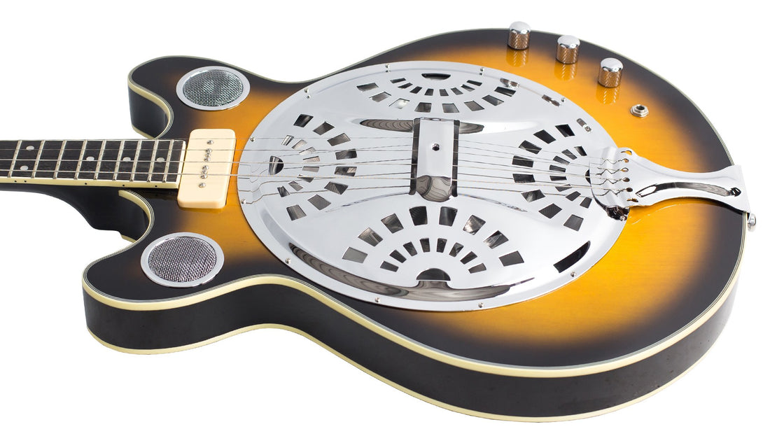 Eastwood Guitars Delta 4 Tenor Sunburst Player POV