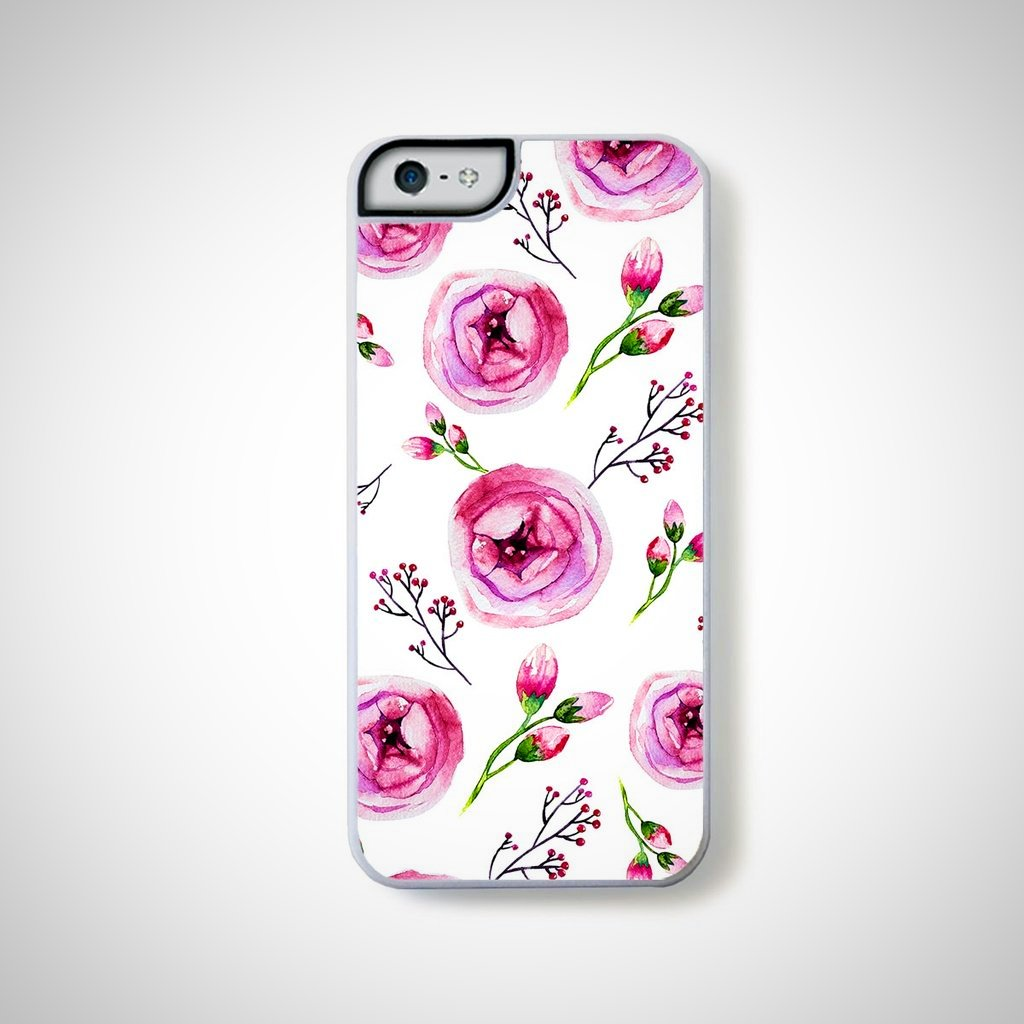 Roses in pink random pattern on white for iPhone 5