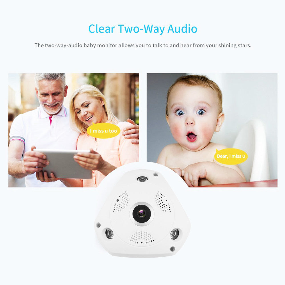 HD WiFi Fisheye Lens 360°Panoramic  Wireless IP Audio Video Home Security Cameras System