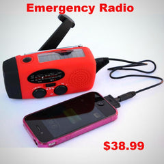 Emergency Hand Crank, Solar Radio. A Phone Charger AND A LED Flashlight. Be Prepared In Case Of A Power Outage.