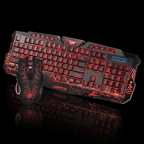 Computer Multimedia Gaming LED Wired 2.4G keyboard and Mouse Set