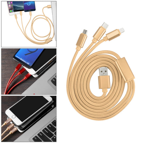 3 in 1 2A Nylon Braided Charging Cord