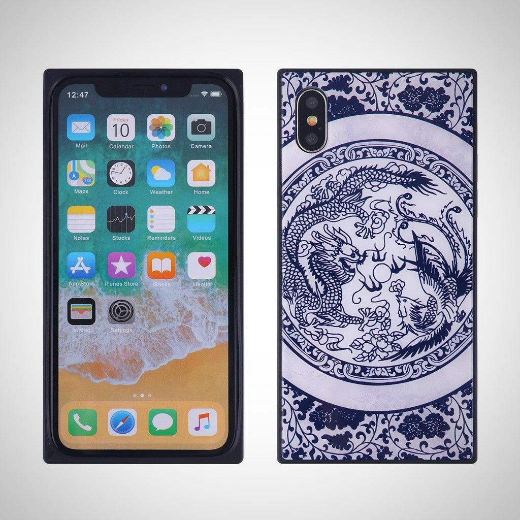 China Style Square Glass Phone Case Blue and White Porcelain Phone Shell