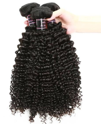 Brazilian Kinky Curly Hair 3 Bundles With 360 Lace Frontal Closure - Easy Hair