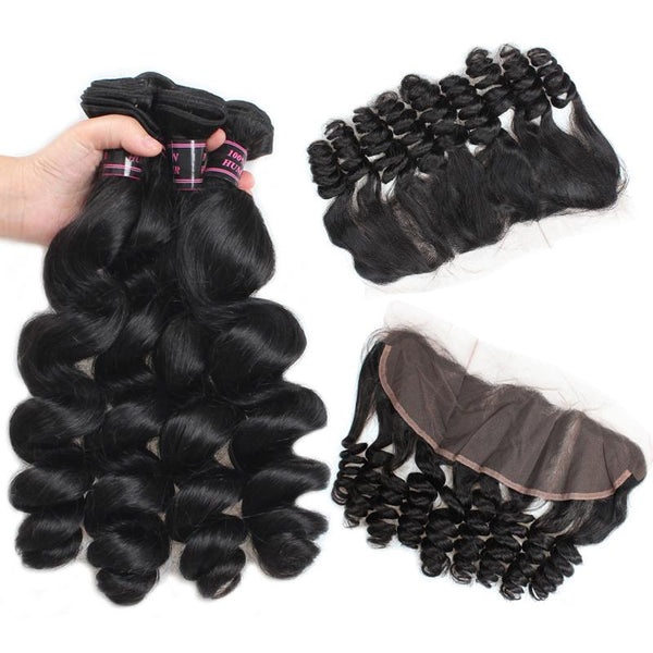 Ishow 8A Brazilian Loose Wave Virgin Hair 3 Bundles With 13x4 Frontal Lace Closure