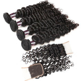 ishow brazilian deep wave hairstyles 4 bundles with lace hair closure
