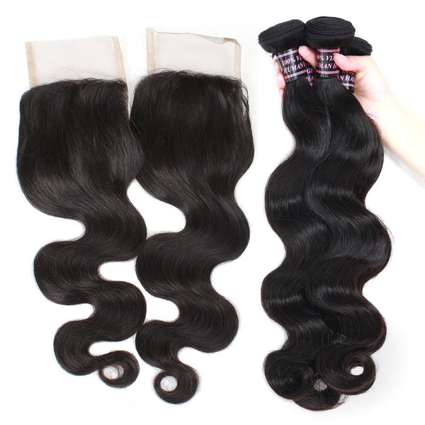 Easy Hair Indian Body Wave Weave Human Hair 4 Bundles With Lace Closure - Easy Hair