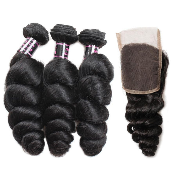 Ishow Hair Natural Indian Hair Loose Wave Human Hair 4 Bundles With Lace Closure - Easy Hair