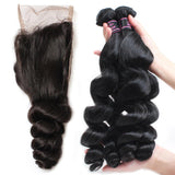 ishow cheap peruvian loose wave human hair weave 4 bundles with lace closure