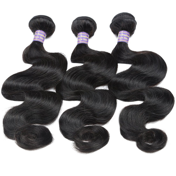 ALLove Indian Body Wave Virgin Hair 3 Bundles With 13x4 Lace Frontal