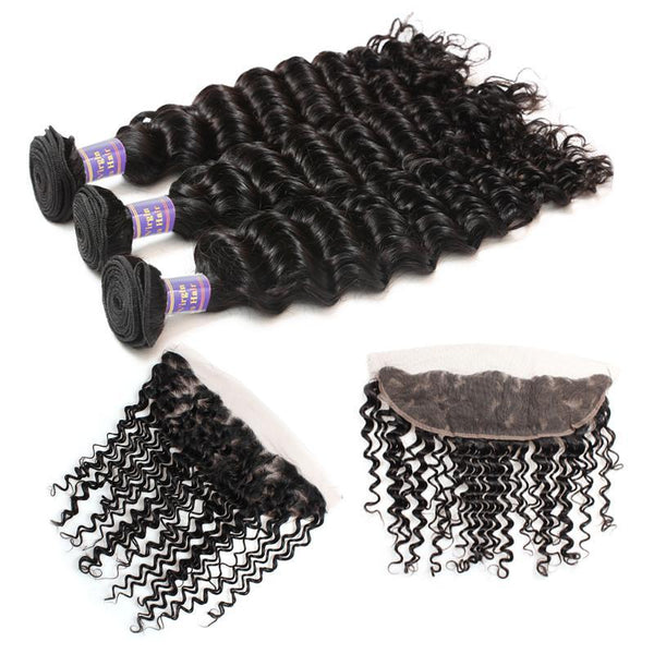 allove indian deep wave virgin hair 3 bundles with 13 4 lace frontal
