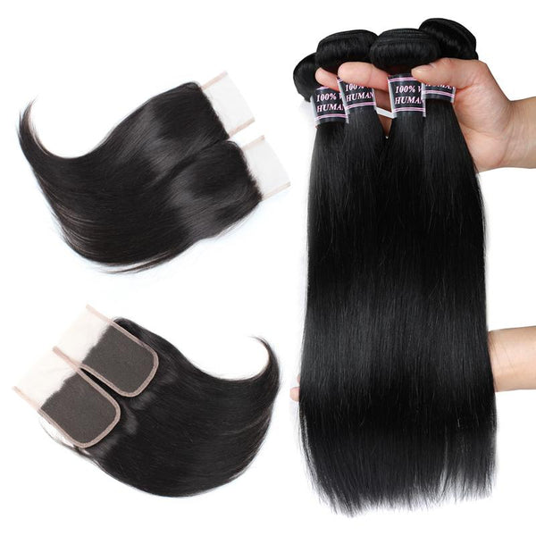 Easy Hair Brazilian Straight Human Hair 4 Bundles With Straight Lace Closure - Easy Hair