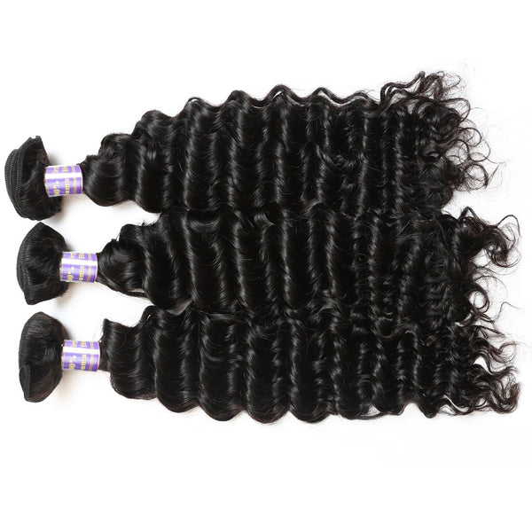 Easy Hair 10A Indian Deep Wave Virgin Hair 3 Bundles Deals With Lace Frontal - Easy Hair