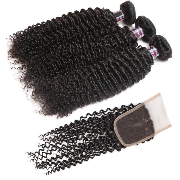 Ishow Peruvian Kinky Curly Human Hair 3 Bundles With Lace Closure - Easy Hair