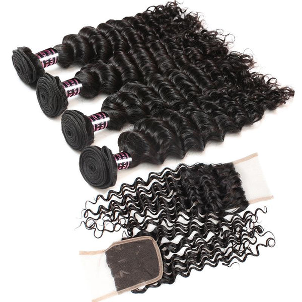 Ishow Malaysian Deep Wave 4 Bundles Virgin Human Hair With Lace Closure - Easy Hair