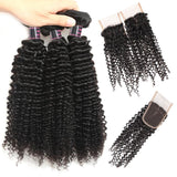 ishow hair indian virgin hair curly wave bundles 3pc with lace closure