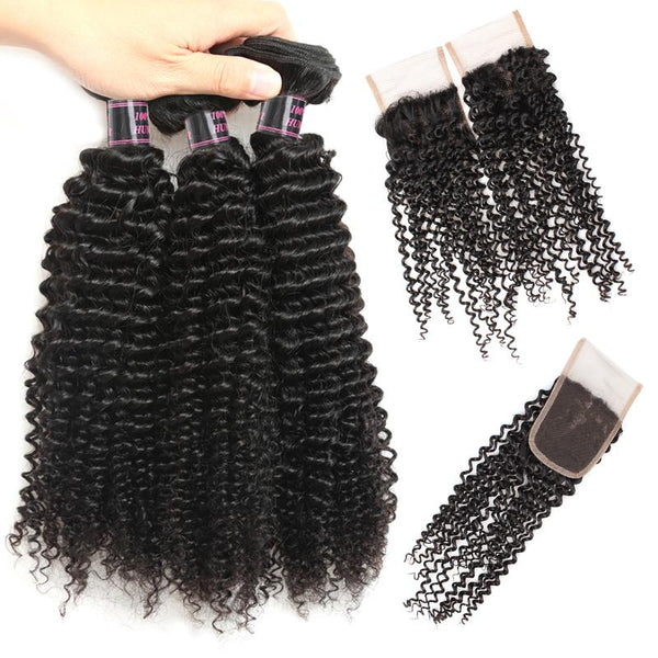Ishow Peruvian Kinky Curly Human Hair 3 Bundles with Lace Closure
