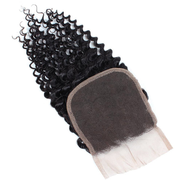 Easy Hair Brazilian Virgin Hair Curly Lace Closure 4x4 Swiss Lace Closure Human Hair - Easy Hair