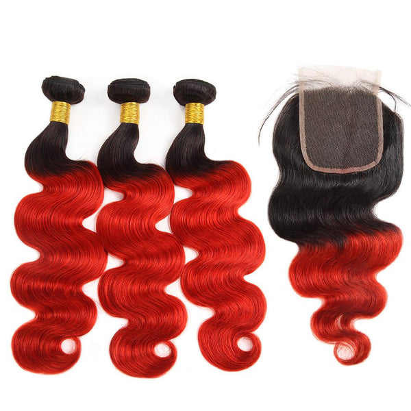 Easy Hair Indian T1B/39J Ombre Body Wave Virgin Human Hair Extensions 3 Bundles With 4x4 Lace Closure - Easy Hair