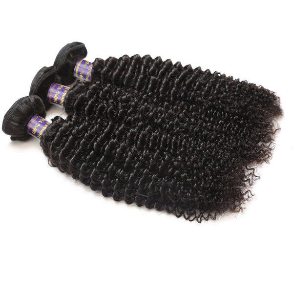 Allove Hair Unprocessed Peruvian Kinky Curly Human Hair 3 Bundles with Lace Closure