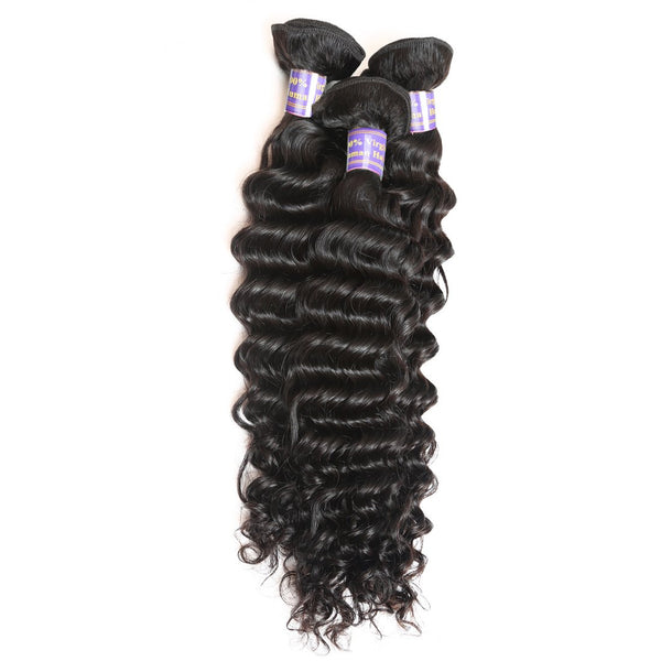 Allove Hair Unprocessed Malaysian Deep Wave Human Hair 3 Bundles With Lace Closure - Easy Hair