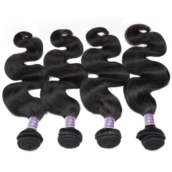 Allove Unprocessed Indian Virgin Hair Body Wave Human Hair Weave 4 Bundles