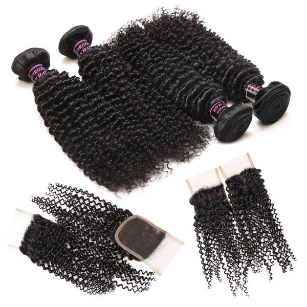 Easy Hair Peruvian Curly Virgin Hair 4 Bundles With Curly Lace Closure - Easy Hair