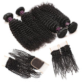 ishow hair malaysian curly weave 4 bundles with best hair lace closure